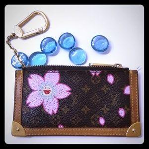 Louis Vuitton cherry blossom coins keys bag